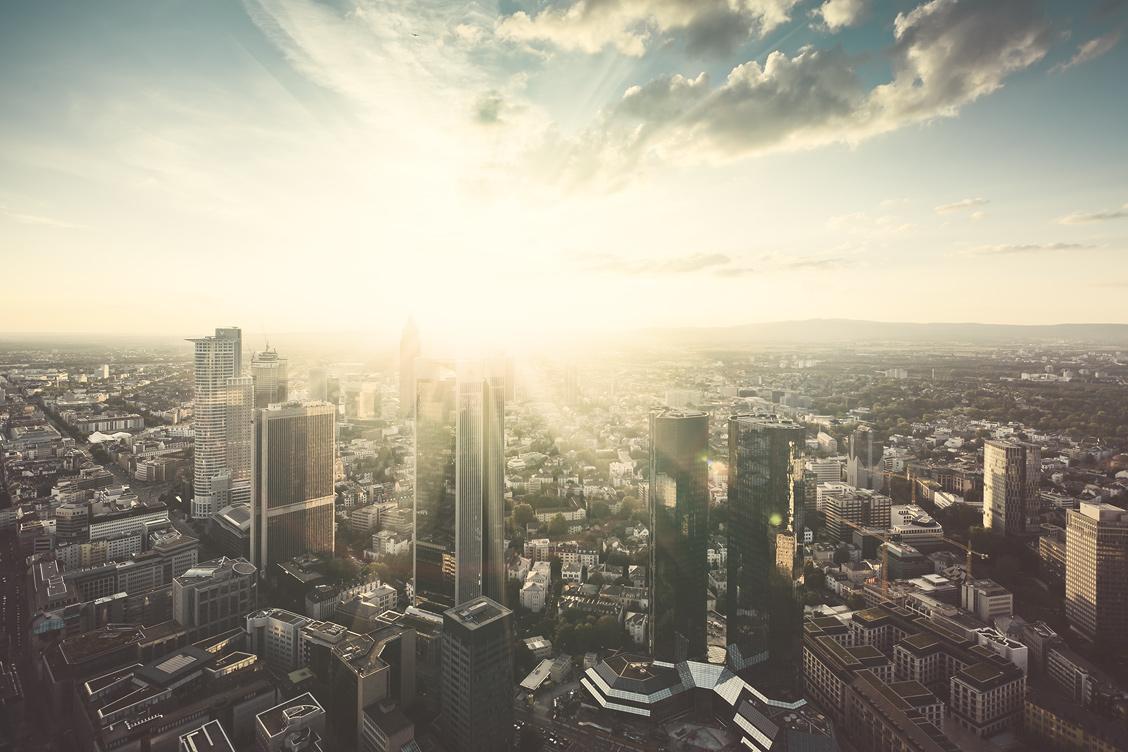 Sunset Frankfurt Aerial