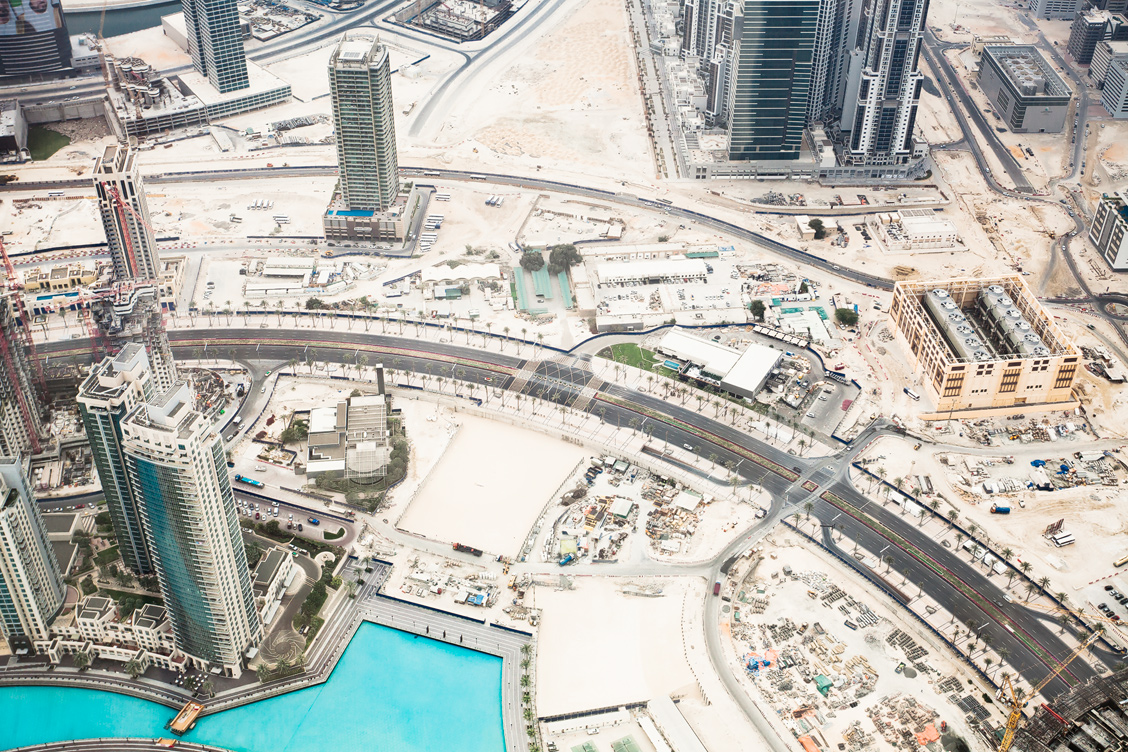 Aerial view Dubai Downtown