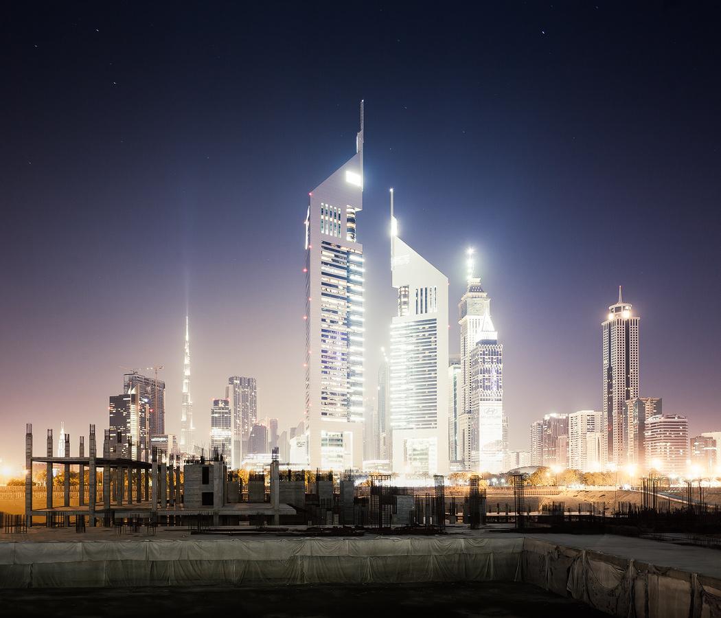 Emirates Towers and Burj Khalifa