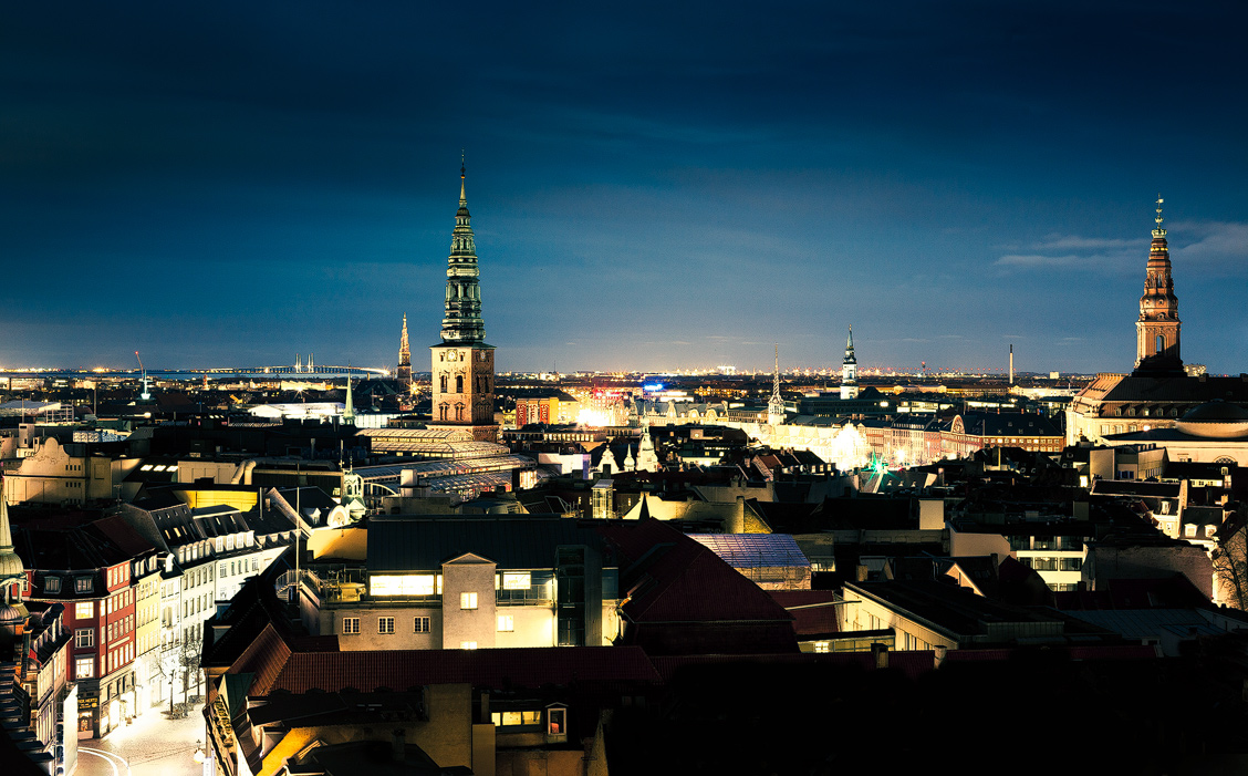 Copenhagen cityscape at night