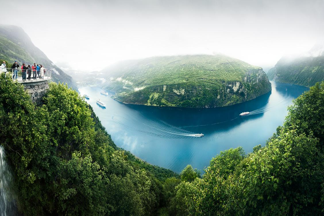Geirangerfjord panorama from Ørnevegen