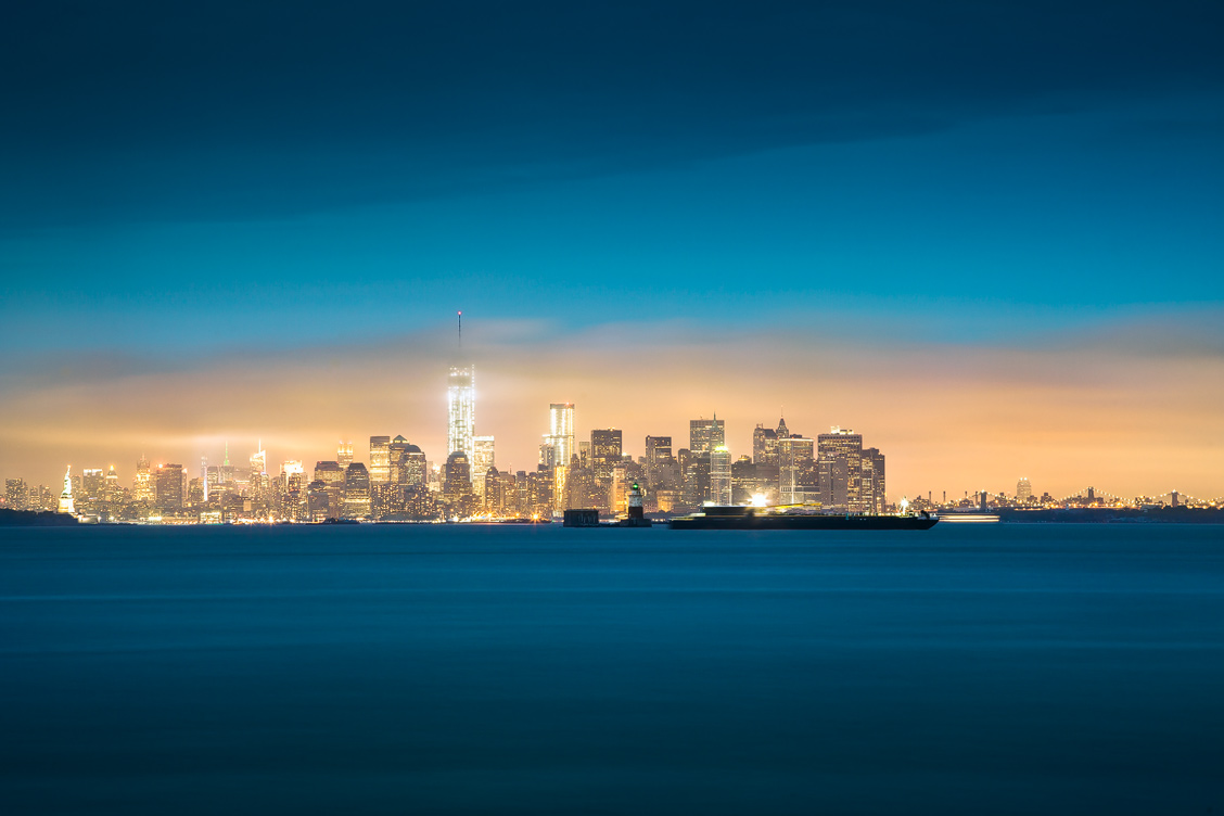 New York Downtown Skyline at Night – One World Trade Center
