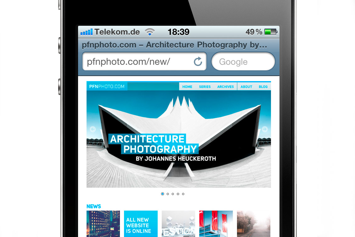 pfnphoto.com auf dem iPhone
