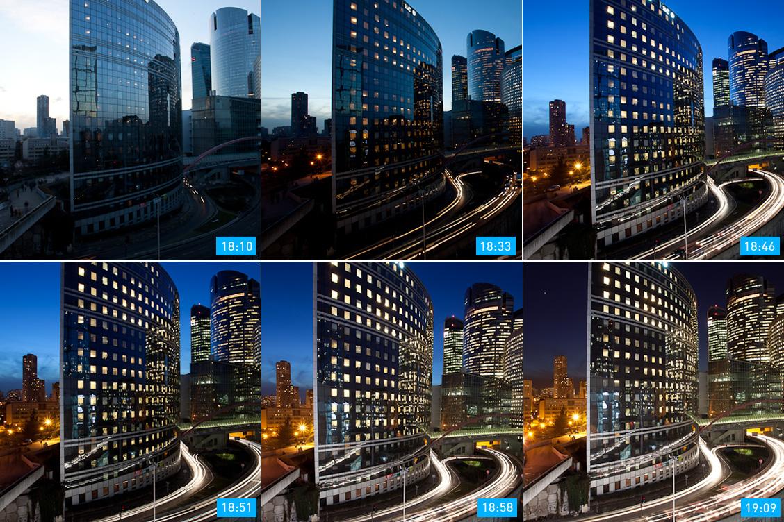 Ablauf der blauen Stunde, unterschiedliche Intensität, Fotografieren während der blauen Stunde