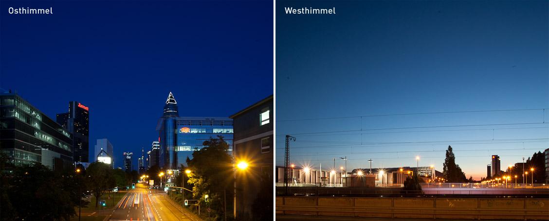 Unterschied zwischen Ost- und Westhimmel