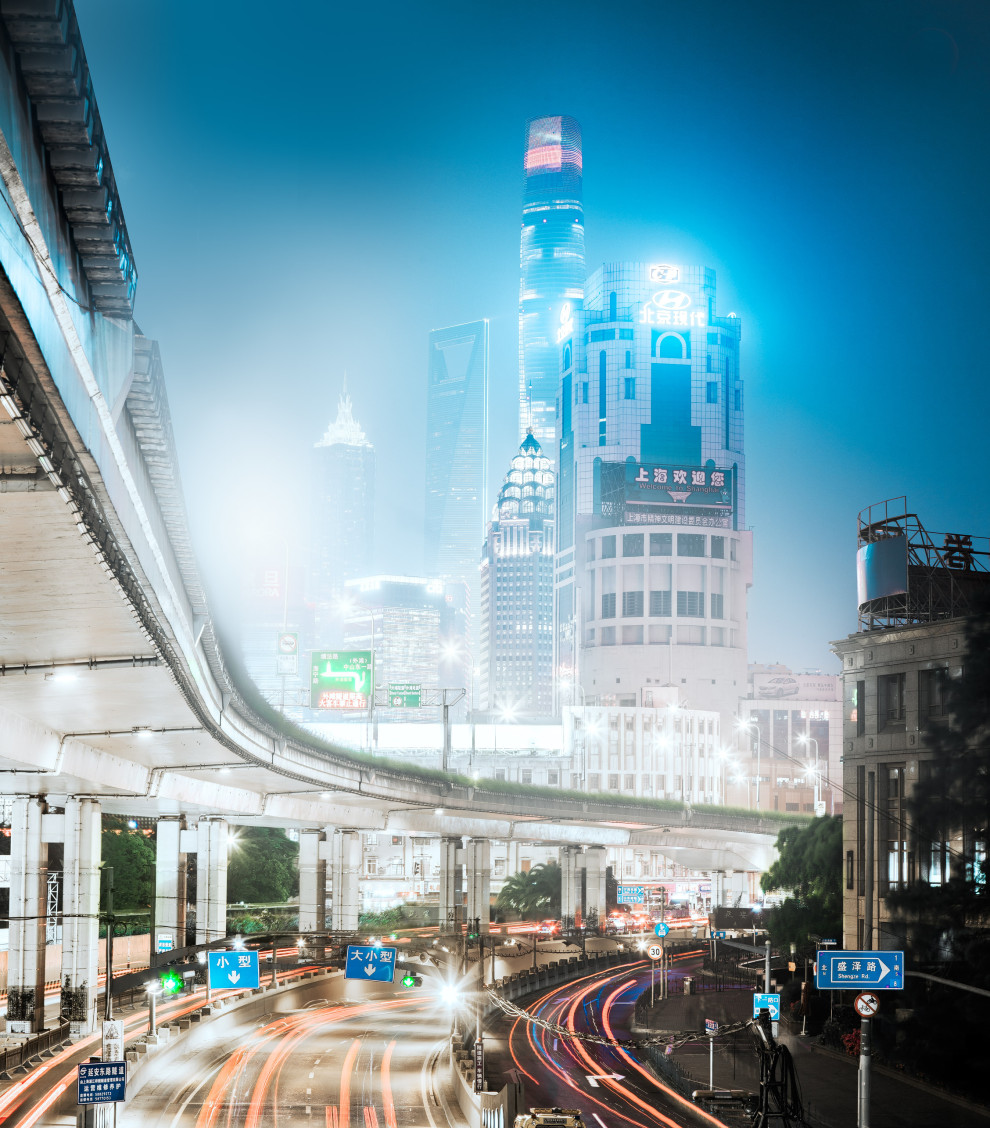 Shanghai interchange at night