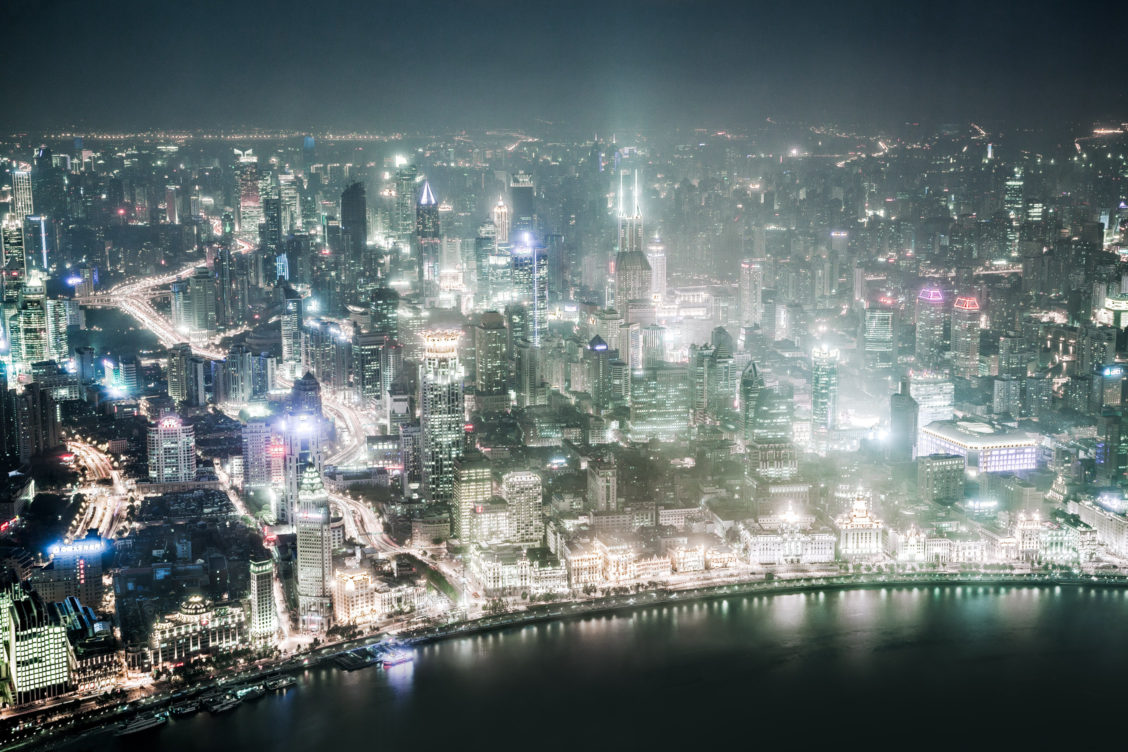 Shanghai aerial night
