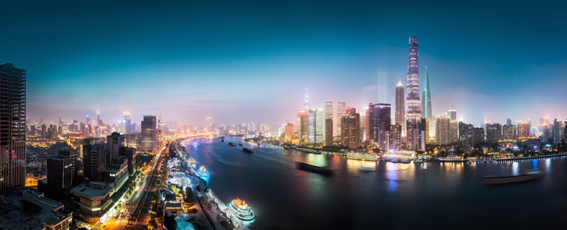 Shanghai at night panorama